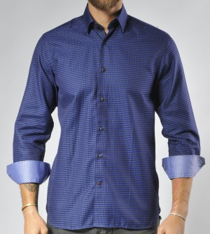 Luchiano Visconti Purple Circle Tone on Tone Long Sleeve Sport Shirt (3561)