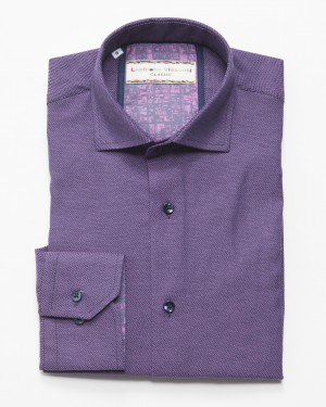Luchiano Visconti Purple Texture Long Sleeve Sport Shirt (3706)