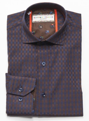 Luchiano Visconti Brown with Blue Check Pattern Long Sleeve Sport Shirt (3709)