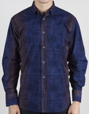 Luchiano Visconti Blue Abstract  Long Sleeve Sport Shirt (37113)