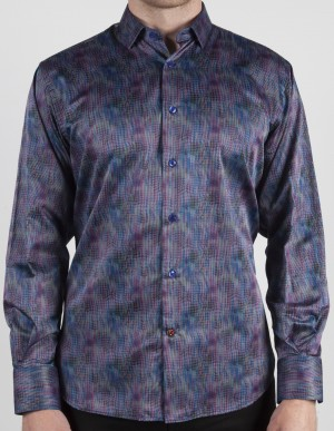 Luchiano Visconti Grey with Purple/Blue Abstract Long Sleeve Sport Shirt (37116)