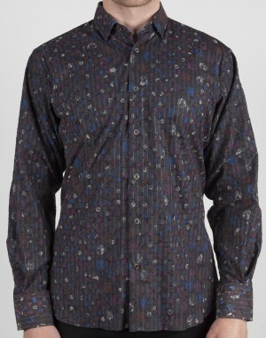 Luchiano Visconti Grey Pattern Abstract Long Sleeve Sport Shirt (37121)