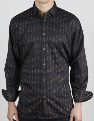 Luchiano Visconti Brown Abstract  Long Sleeve Sport Shirt (37145)