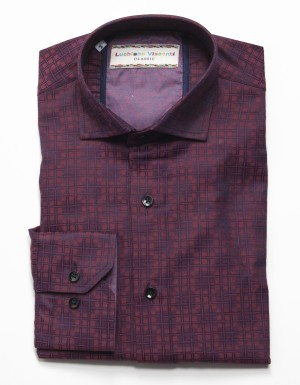 Luchiano Visconti Burgundy Check Long Sleeve Sport Shirt (3719)