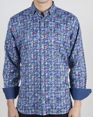 Luchiano Visconti Blue Circle Abstract Long Sleeve Sport Shirt (3762)
