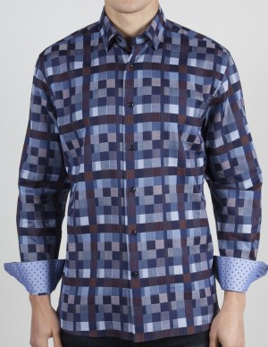 Luchiano Visconti Blue with Brown Squares Long Sleeve Sport Shirt (3769)