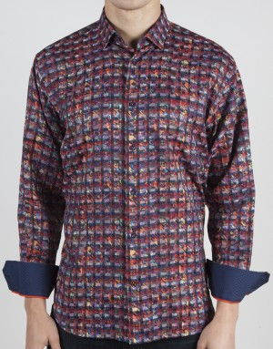 Luchiano Visconti Multi Color Abstract Long Sleeve Sport Shirt (3788)