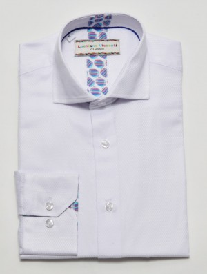 Luchiano Visconti White Tone on Tone Long Sleeve Sport Shirt (3801)