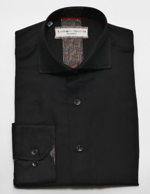 Luchiano Visconti Black Tone on Tone Long Sleeve Sport Shirt (3802)