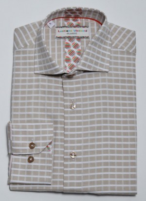 Luchiano Visconti Tan/White Check Long Sleeve Sport Shirt (3809)