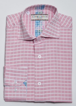 Luchiano Visconti Pink with White Check Long Sleeve Sport Shirt (3810)