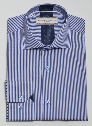 Luchiano Visconti Navy/White Stripe Long Sleeve Sport Shirt (3814)