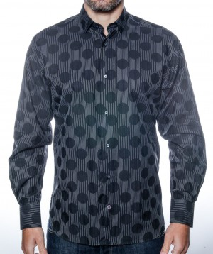 Luchiano Visconti Black/Grey Circle and Stripe Long Sleeve Sport Shirt (3821)