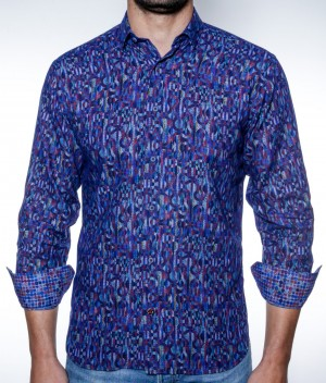 Luchiano Visconti Blue Multi Abstract Long Sleeve Sport Shirt (3839)