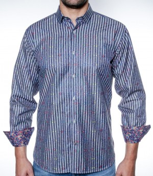 Luchiano Visconti Blue Strip Pattern Long Sleeve Sport Shirt (3872)