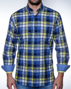 Luchiano Visconti Blue and Yellow Squares Long Sleeve Sport Shirt (38N57)