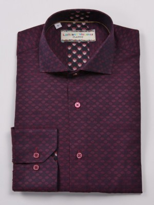 Luchiano Visconti Burgundy with Oval Pattern Long Sleeve Sport Shirt (3909)