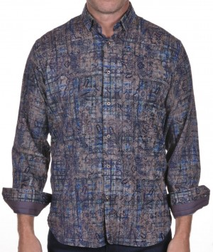 Luchiano Visconti Brown with Blue Paisley Abstract Long Sleeve Sport Shirt (39113)