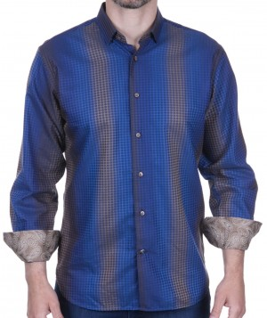 Luchiano Visconti Royal Blue with Taupe Stripe and circle tone on tone Long Sleeve Sport Shirt (39140)