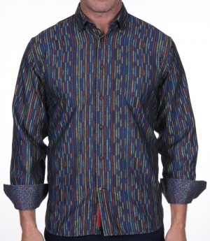 Luchiano Visconti Vertical Multi Abstract Long Sleeve Sport Shirt (3950)