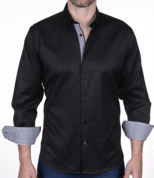 Luchiano Visconti Black Sateen Tone on Tone Long Sleeve Sport Shirt (3955)
