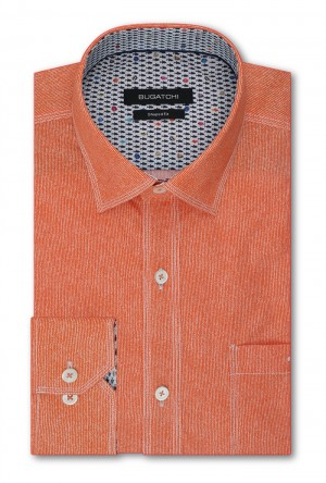 Bugatchi Tangerine with White Stitch Detail Long Sleeve Sport Shirt Shaped Fit (JS4502E10S)