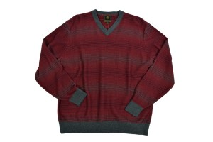 F/X Fusion Long Sleeve Reverse Jacquard V-Neck Red Sweater