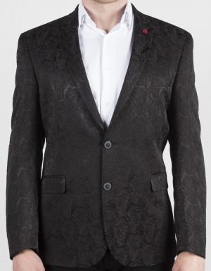Luchiano Visconti Black Tone on Tone Sport Jacket (ABE 136)