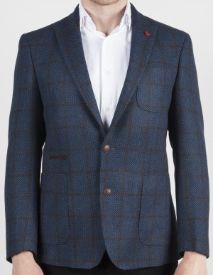 Luchiano Visconti Blue with Brown Check Sport Jacket (ABE 137)