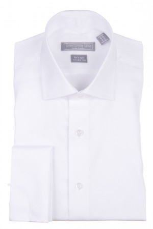 Christopher Lena Regular Fit French Cuff Lay Down Collar Wrinkle Free Tuxedo Shirt - White