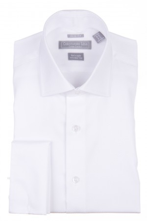 Christopher Lena Contemporary Fit French Cuff Lay Down Collar Wrinkle Free Tuxedo Shirt White