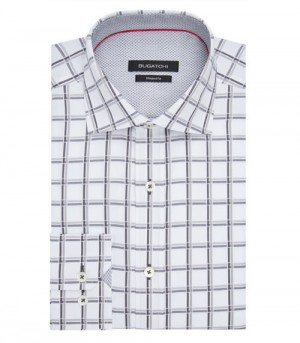 Bugatchi White with Large Grey Shadow Plaid Long Sleeve Sport Shirt Shaped Fit (DS3007E6S)