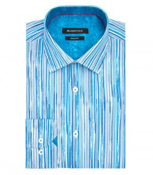 Bugatchi Classic Blue Striping Long Sleeve Sport Shirt Shaped Fit (DS3649L5S)