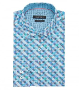 Bugatchi Turquoise Weave Long Sleeve Sport Shirt Shaped Fit (DS3652L5S)