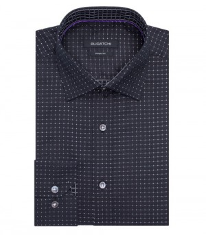 Bugatchi Black with Dot Multi- Abstract Long Sleeve Sport Shirt Shaped Fit (DS3945L16S)