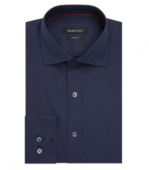 Bugatchi Navy Modified Spread Long Sleeve Sport Shirt Shaped Fit (DS4520E16S)
