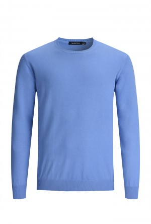 Bugatchi Riviera Blue Long Sleeve Crew Neck Sweater (LH200CN1)