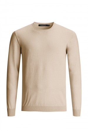 Bugatchi Sand Long Sleeve Crew Neck Sweater (LH200CN1)