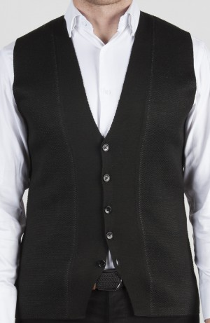 Luchiano Visconti Black with Grey Button Knit Vest (LVW14)
