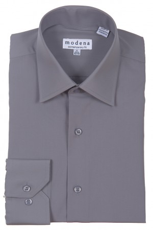 Charcoal Contemporary Fit Regular Cuff Dress Shirt by Modena
