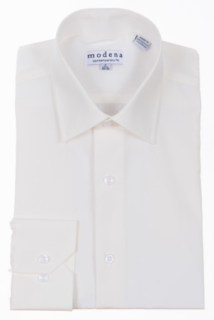 Off White Contemporary Fit Regular Cuff Dress Shirt by Modena