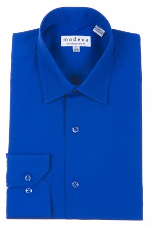 French Blue Contemporary Fit Regular Cuff Dress Shirt by Modena