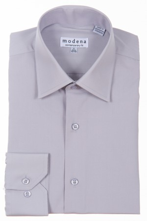 Gray Contemporary Fit Regular Cuff Dress Shirt by Modena