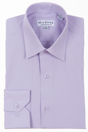 Lavender Contemporary Fit Regular Cuff Dress Shirt by Modena