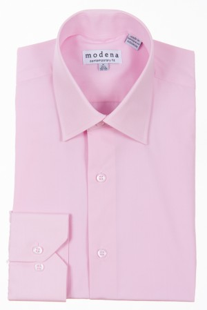 Pink Contemporary Fit Regular Cuff Dress Shirt by Modena