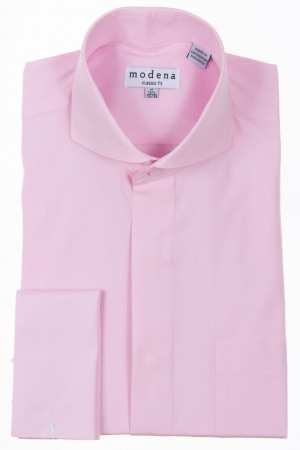 Pink Classic Fit  Cut-Away Collar French Cuff Dress Shirt by Modena