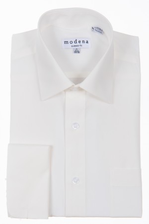Off-White Classic Fit French Cuff Dress Shirt by Modena