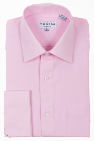 Pink Classic Fit French Cuff Dress Shirt by Modena
