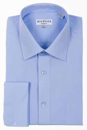 Light Blue Classic Fit French Cuff Dress Shirt by Modena
