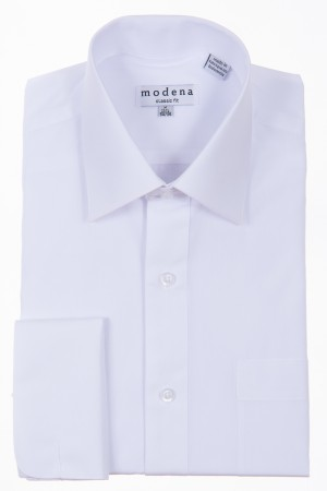 White Classic Fit French Cuff Dress Shirt by Modena